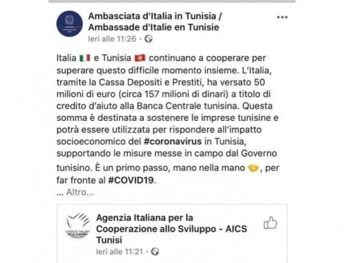 L'Italia presta 50 milioni di euro alla Tunisia per sostenere le imprese tunisine nell'emergenza coronavirus