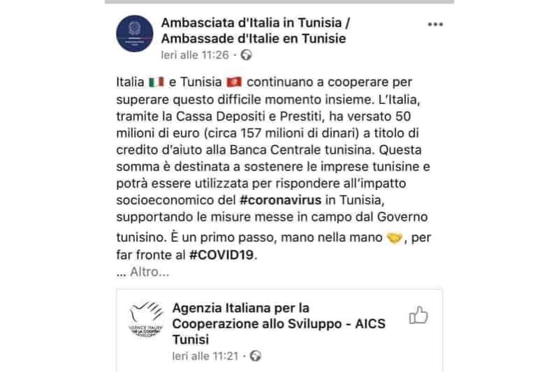 Ambasciata Itlaiana a Tunisi screenshot Facebook