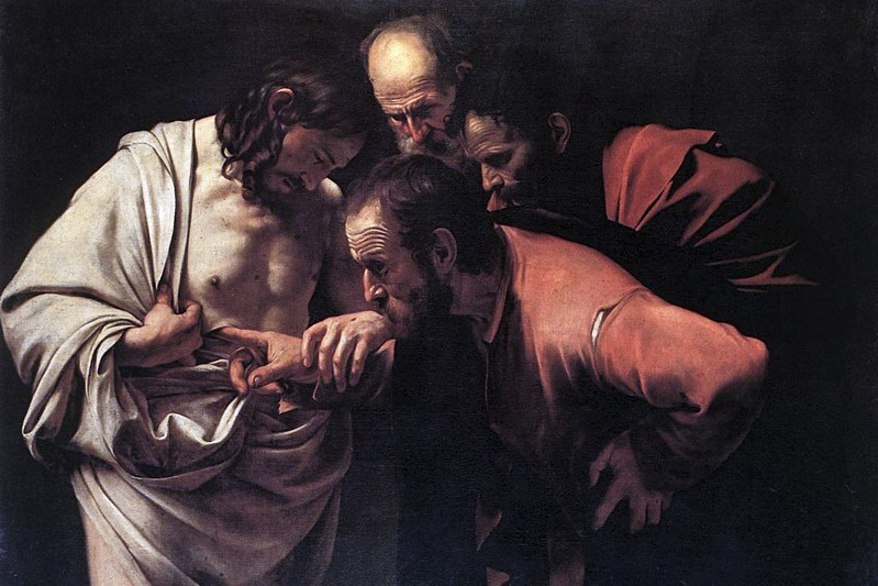 Caravaggio - L'incredulità di San Tommaso (Wikipedia)