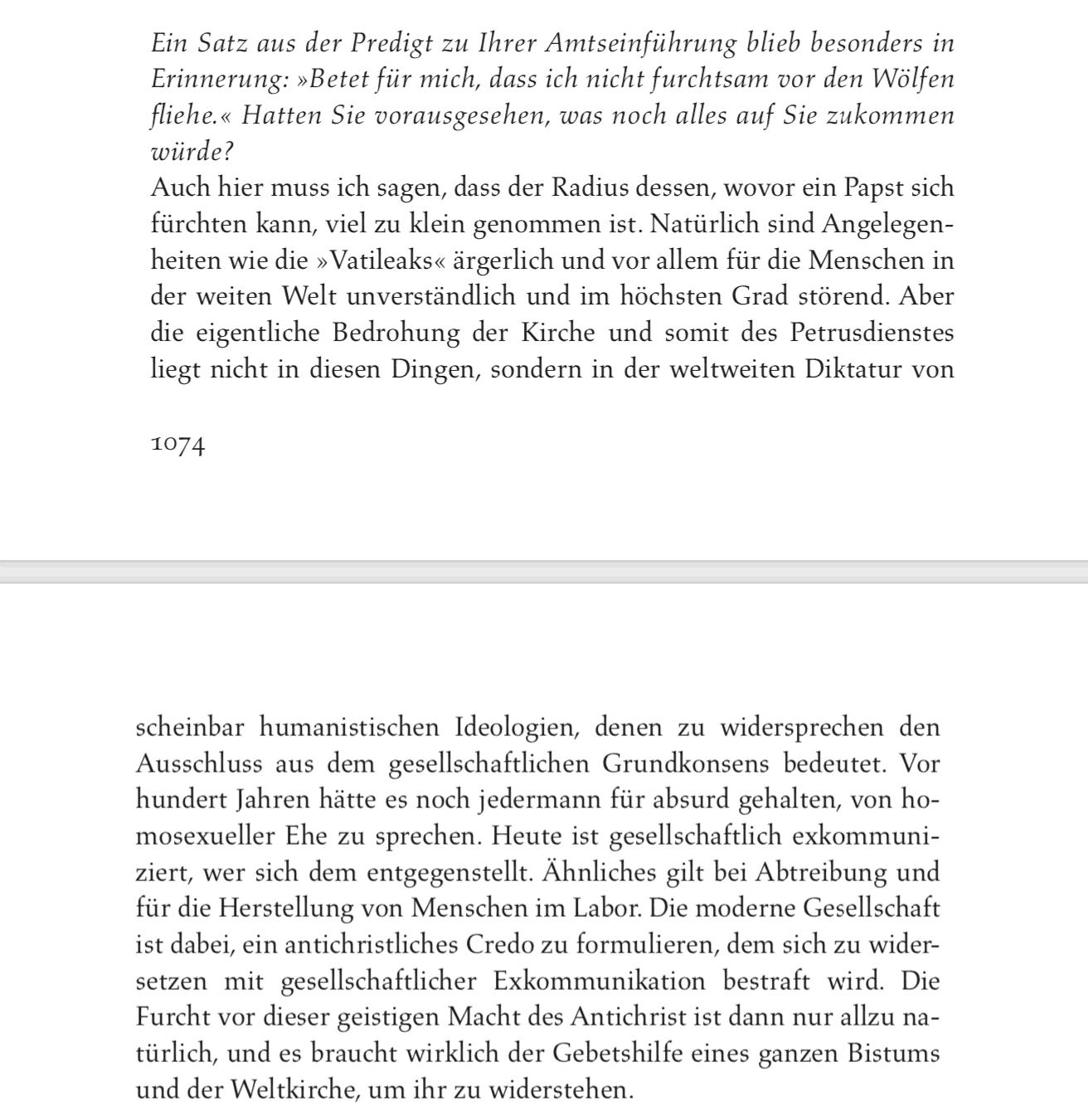 Benedetto XVI biografia di Seewald pag 1074