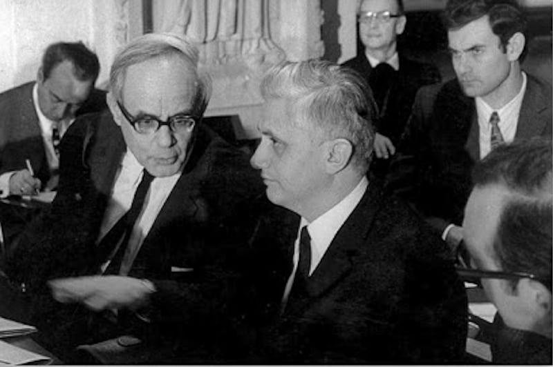 Karl Rahner e Joseph Ratzinger durante il Concilio Vaticano II