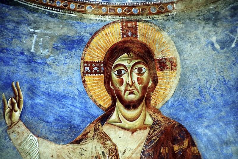 Gesù, s. Angelo in Formis, Affreschi del XI secolo