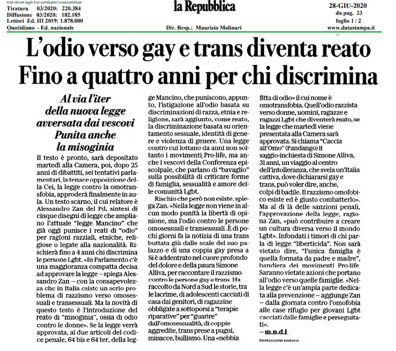 Legge omotrasfobia pagina di Repubblica