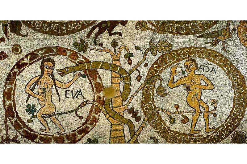 Otranto, cattedrale, mosaico, Adamo ed Eva (particolare)
