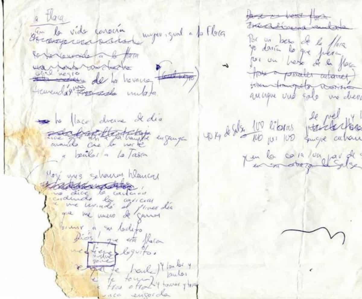 """Manoscritto de """"La flaca"""" (foto El Mundo)"""