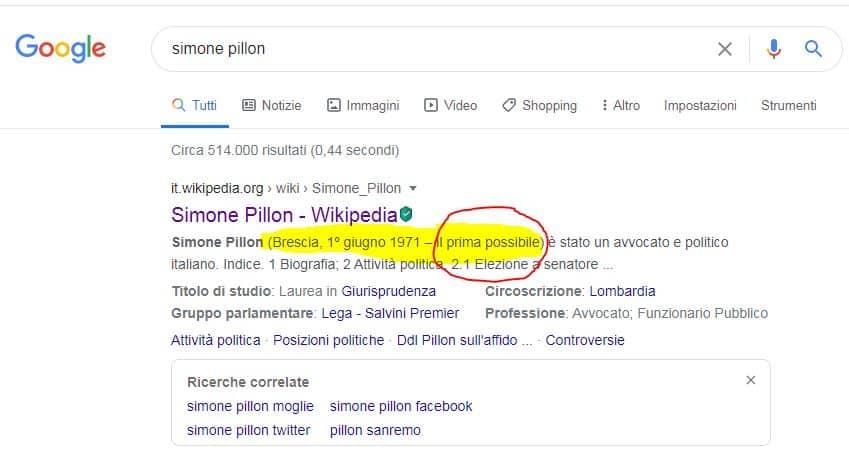 Simone Pillon snipet Wilipedia