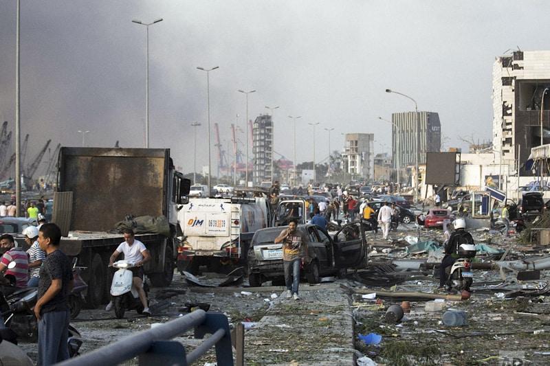 Esplosione a Beirut, Libano, martedì 4 agosto 2020. (Foto AP/Hassan Ammar)