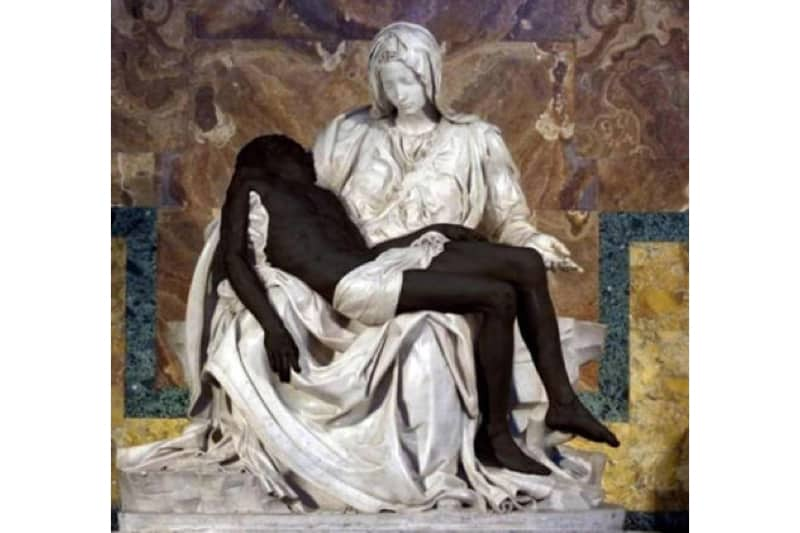 Tweet Pontificia Accademia Vita pietà Michelangelo Gesù nero