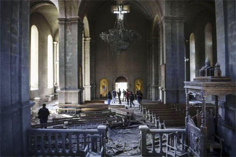 Armenia Shusha cattedrale di San Salvatore bombardata