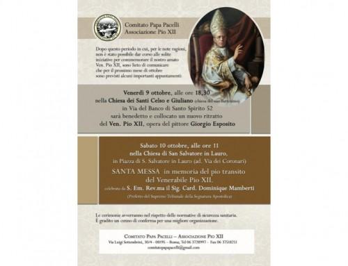 Il Comitato Papa Pacelli-Associazione Pio XII celebra l'anniversario della nascita al cielo del Venerabile Pio XII