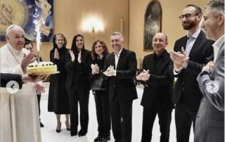 "Papa Francesco festeggia il compleanno del regista del docufilm ""Francesco"", Evgeny Afineevsky 22-ottobre-2020"