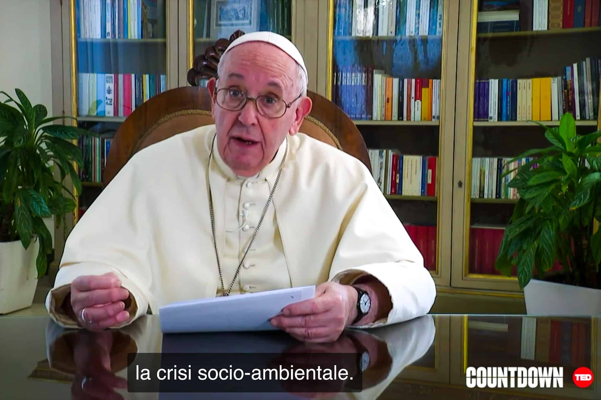 Papa Francesco messaggio TED ottobre 2020 (screenshot)