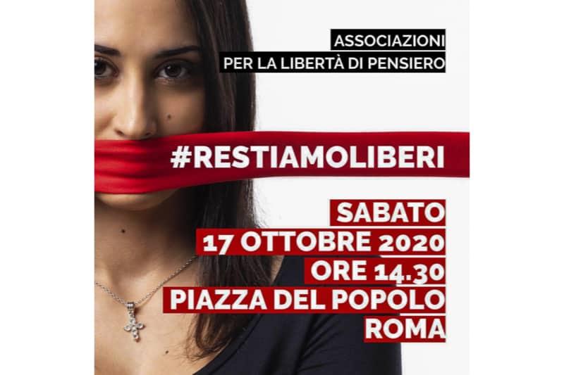 RESTIAMO LIBERI manifestazione Roma 17 ottobre 2020