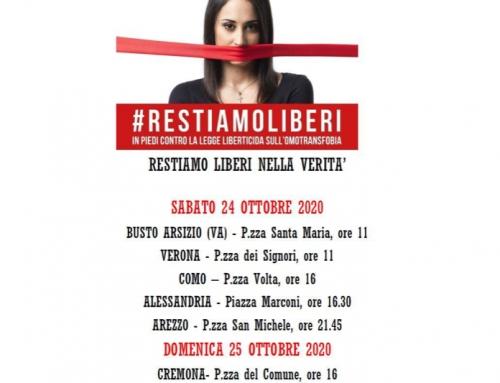 #RESTIAMOLIBERI – le manifestazioni continuano