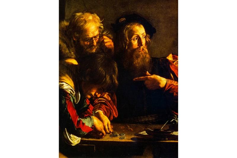 Vocazione di San Matteo (particolare) - Caravaggio