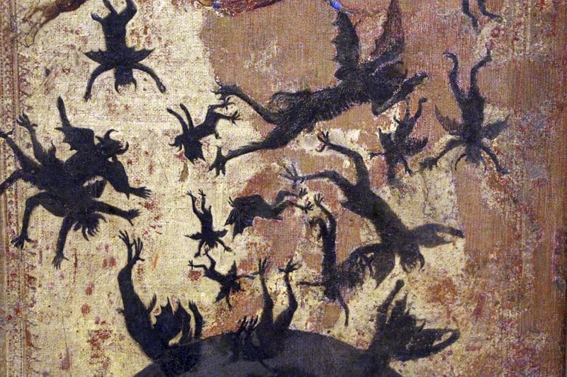 Maestro degli angeli ribelli caduta degli angeli ribelli e S. Martino 1340-45 ca. Siena-1