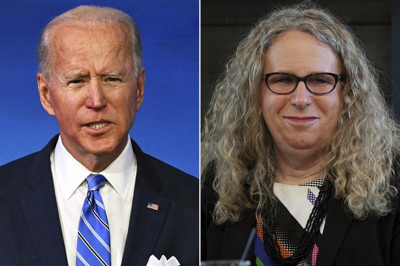 Joe Biden e Rachel Levine (transgender) - (Photo by Bonnie Jo Mount/The Washington Post via Getty Images) JIM WATSON/AFP via Getty; Bonnie Jo Mount/The Washington Post via Getty