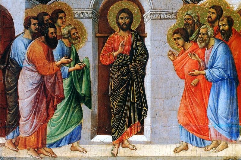 Duccio di Buoninsegna: L'Apparizione di Cristo agli apostoli a porte chiuse