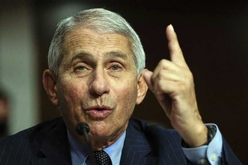 Dr. Anthony Fauci, Director of the National Institute of Allergy and Infectious Diseases at the National Institutes of Health, listens during a Senate Senate Health, Education, Labor, and Pensions Committee Hearing on the federal government response to COVID-19 on Capitol Hill Wednesday, Sept. 23, 2020, in Washington. (Graeme Jennings/Pool via AP)