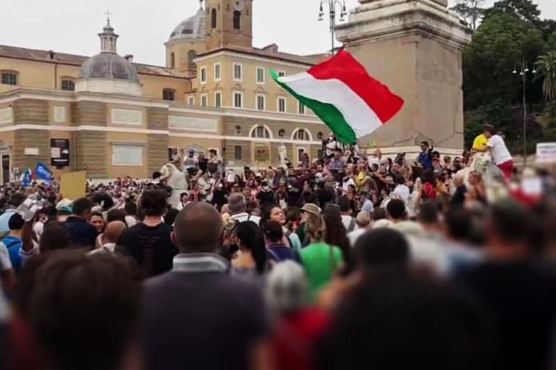 Green pass manifestazione piazza del popolo roma-
