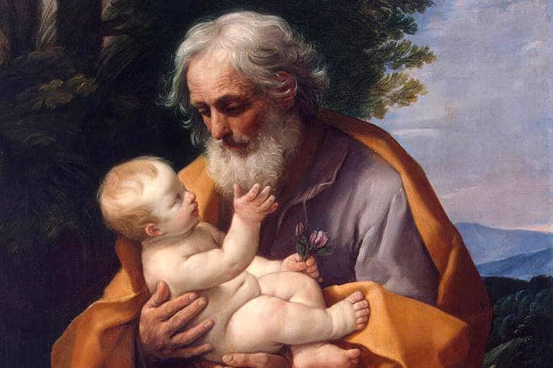 """Particolare de """"San Giuseppe e il Bambino Gesù"""" (1635) di Guido Reni (1575- 1642). Olio su tela 126 X 101, Museo dell'Hermitage, San Pietroburgo."""