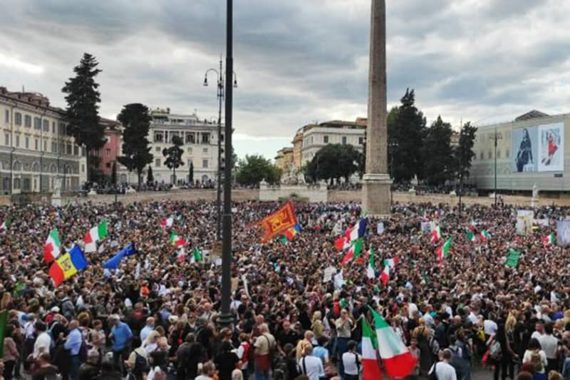 manifestazione-no-green-pass-roma 09 10 2021